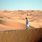 På vandretur i Wahiba-ørkenen.